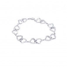 Wholesale Sterling Silver 925 Rhodium Plated Open Multi Heart Clear CZ Bracelet - STB00280
