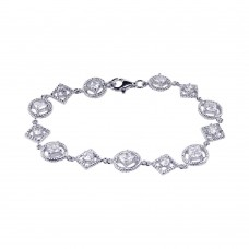 Sterling Silver Rhodium Plated Multi Shape Clear CZ Bracelet - STB00283