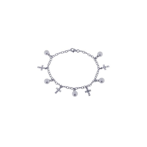 Wholesale Sterling Silver 925 Rhodium Plated Pearl Cross Clear CZ Charm Bracelet - STB00294