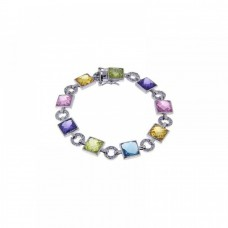 Sterling Silver Rhodium Plated Multi Color Square and Circle Bracelet - STB00296