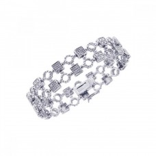 **Closeout** Sterling Silver Rhodium Plated Clear CZ Square and Circle Bracelet - STB00297