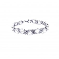 Sterling Silver Rhodium Plated Hear Clear CZ Tennis Bracelet - STB00331