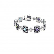 Sterling Silver Oxidized Rhodium Plated Multi Color CZ Antique Bracelet - STB00342