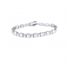 Sterling Silver Rhodium Plated Square Clear CZ Tennis Bracelet - STB00346