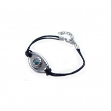 Wholesale Sterling Silver 925 Rhodium Plated Evil Eye Black Cord Bracelet - STB00349