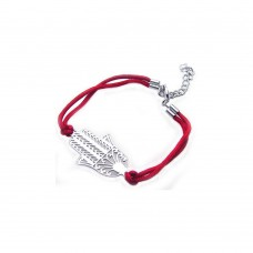 Sterling Silver Rhodium Plated Filigree Hamsa Red Cord Bracelet - STB00350