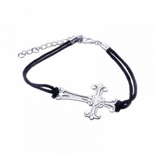 Sterling Silver Rhodium Plated Cross Black Cord Bracelet - STB00351