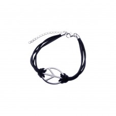 Sterling Silver Rhodium Plated Peace Sign Black Cord Bracelet - STB00358