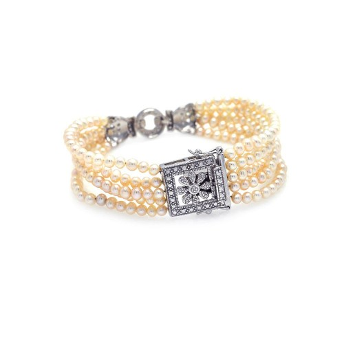 Wholesale Sterling Silver 925 Rhodium Plated Multi Pearl Strand Clear CZ Square and Flower Bracelet - STB00362