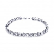 **Closeout** Sterling Silver Rhodium Plated Clear CZ Tennis Bracelet - STB00365