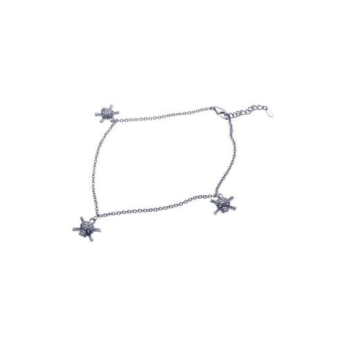 Wholesale Sterling Silver 925 Rhodium Plated Skull Clear CZ Charm Bracelet - STB00370