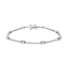Sterling Silver Rhodium Plated Clear CZ Tennis Bracelet - STB00372