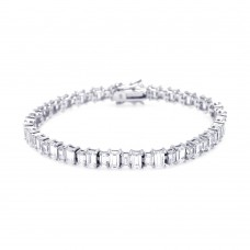 Wholesale Sterling Silver 925 Rhodium Plated Rectangular Clear CZ Tennis Bracelet - STB00373