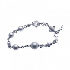 Wholesale Sterling Silver 925 Rhodium Plated Pearl Clear CZ Bracelet - STB00374