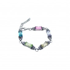 Wholesale Sterling Silver 925 Rhodium Plated Rectangular Multi Color CZ Bracelet - STB00375