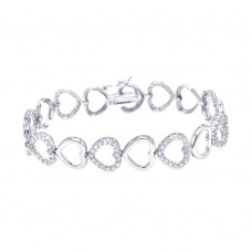 Wholesale Sterling Silver 925 Rhodium Plated Open Heart Clear CZ Bracelet - STB00378