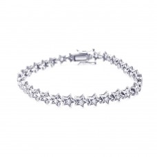 Wholesale Sterling Silver 925 Rhodium Plated Star Clear CZ Tennis Bracelet - STB00387