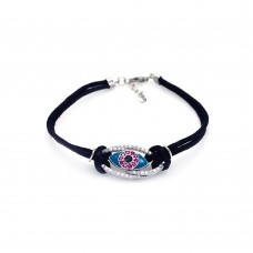 Wholesale Sterling Silver 925 Rhodium Plated Evil Eye Clear and Pink Black Cord Bracelet - STB00399