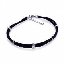 **Closeout** Sterling Silver Rhodium Plated Clear CZ Black Cord Bracelet - STB00400