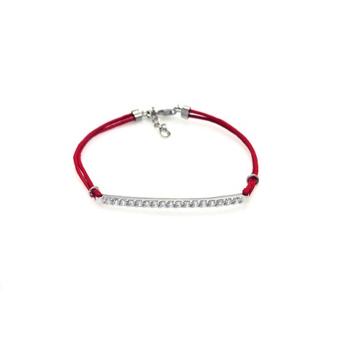 Wholesale Sterling Silver 925 Rhodium Plated Clear CZ ID Red Cord Bracelet - STB00401