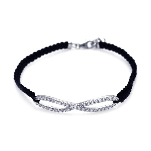 Wholesale Sterling Silver 925 Rhodium Plated Infinity Clear CZ Black Cord Bracelet - STB00402