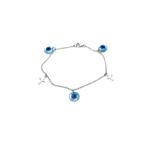 Wholesale Sterling Silver 925 Rhodium Plated Cross and Evil Eye Charm Bracelet - STB00403