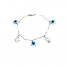 Wholesale Sterling Silver 925 Rhodium Plated Hamsa and Evil Eye Charm Bracelet - STB00404
