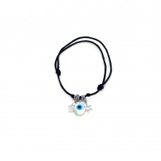 Sterling Silver Rhodium Plated Hamsa Evil Eye and Star of David Black Cord Bracelet - STB00408