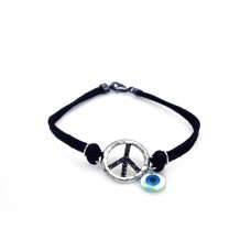 Sterling Silver Rhodium Plated Black CZ Peace Sign and Evil Eye Black Cord Bracelet - STB00409