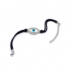 Wholesale Sterling Silver 925 Rhodium Plated Large Evil Eye Clear CZ Black Cord Bracelet - STB00411