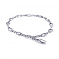 Sterling Silver Rhodium Plated Clear CZ Open Link Tennis Bracelet - STB00414