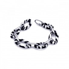 **Closeout** Sterling Silver Rhodium Plated Black and White Enamel Zebra Print Open Link Bracelet - STB00417