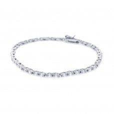 Wholesale Sterling Silver 925 Rhodium Plated Round Clear CZ Tennis Bracelet - STB00424