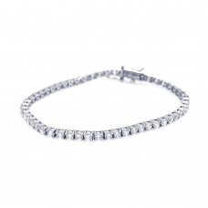 Sterling Silver Rhodium Plated Clear CZ Tennis Bracelet - STB00427