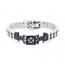 Wholesale Sterling Silver 925 Rhodium Plated Pearl Marcasite and Black CZ Bracelet - STB00428