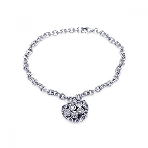 Wholesale Sterling Silver 925 Rhodium Plated Clear CZ Heart Charm Bracelet - STB00431