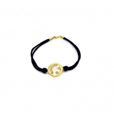 **Closeout** Sterling Silver Gold Plated Happy Face Clear CZ Black Cord Bracelet - STB00432