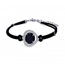 **Closeout** Sterling Silver Rhodium Plated Black CZ Black Leather Cord Bracelet - STB00437