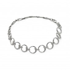 Wholesale Sterling Silver 925 Rhodium Plated Open Circle Link Bracelet - STB00484