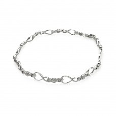 Wholesale Sterling Silver 925 Rhodium Plated Open Heart Link Bracelet - STB00490