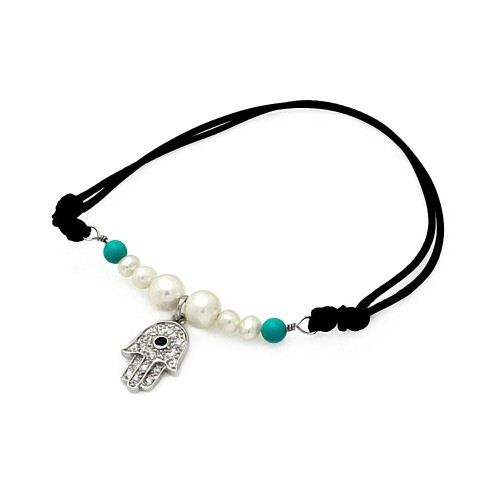 Wholesale Sterling Silver 925 Rhodium Plated Pearl Turquoise Beads Hamsa Clear CZ Black Cord Bracelet - STB00491