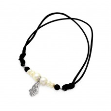 Wholesale Sterling Silver 925 Rhodium Plated Pearl Black Bead Hamsa Black Cord Bracelet - STB00492