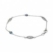 Sterling Silver Rhodium Plated Evil Eye Clear CZ Bracelet - STB00493