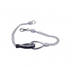 **Closeout** Sterling Silver Rhodium and Black Rhodium Plated Pave Set Clear and Black CZ Multi Strand Loop Bracelet - STB00281BL