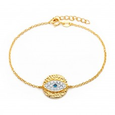 Wholesale Sterling Silver 925 Gold Plated Evil Eye CZ Bracelet - BGB00167