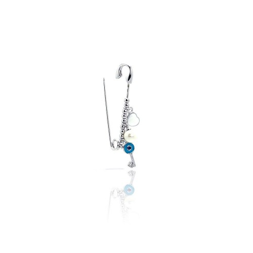 Wholesale Sterling Silver 925 Rhodium Plated Beads Pearl Heart Key Pin Pendant - STP01009