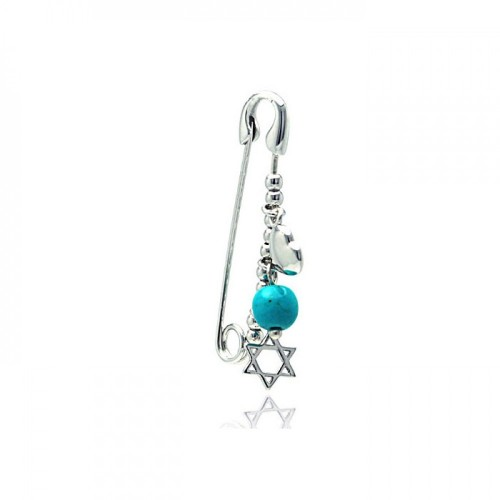 Wholesale Sterling Silver 925 Rhodium Plated Beads and Star of David Pin Pendant - STP01133