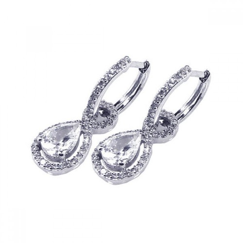 Wholesale Sterling Silver 925 Rhodium Plated Micro Pave Clear Teardrop CZ Dangling Huggie Earrings - ACE00030