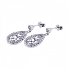**Closeout** Wholesale Sterling Silver 925 Rhodium Plated Micro Pave Clear Filigree CZ Dangling Stud Earrings - ACE00032