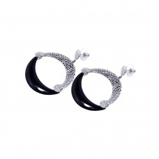 **Closeout** Wholesale Sterling Silver 925 Rhodium Plated Black and Clear Crescent CZ Stud Earrings - BGE00038